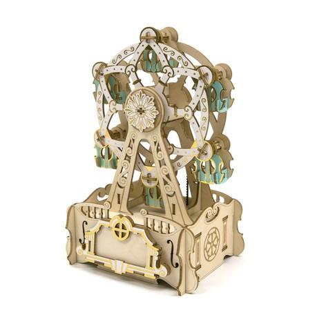 木製パズル ki-gu-mi オルゴール 観覧車敬老の日 ギフト 遊具 道具不要 立体パズル 商舗 木製 ※ラッピング ※