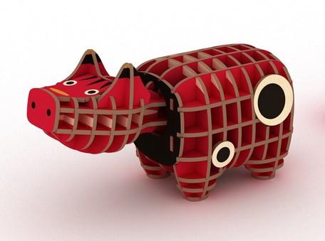 木製パズル ki-gu-mi 赤べこ立体パズル 道具不要 インテリア 通販 評判 木製 ギフト