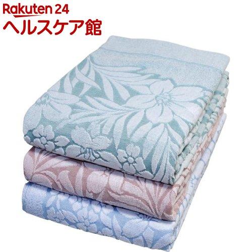 今治産ジャカード織タオルケット ユリ柄 ブルー・ピンク・グリーン(3枚組)
