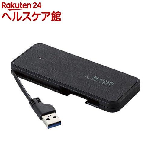 外付けSSD ポータブル ケーブル収納・USB3.1(Gen1)対応 480GB ブラック ESD-EC0480GBK(1コ入)【エレコム(ELECOM)】