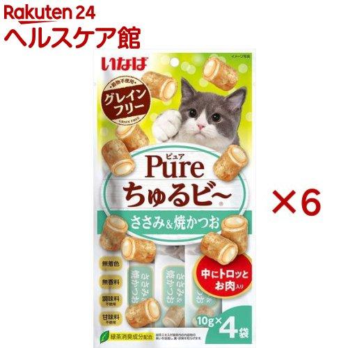 いなば Pureちゅるビ~ 日本正規品 ささみ 焼かつお 在庫あり 4袋入 10g 6セット