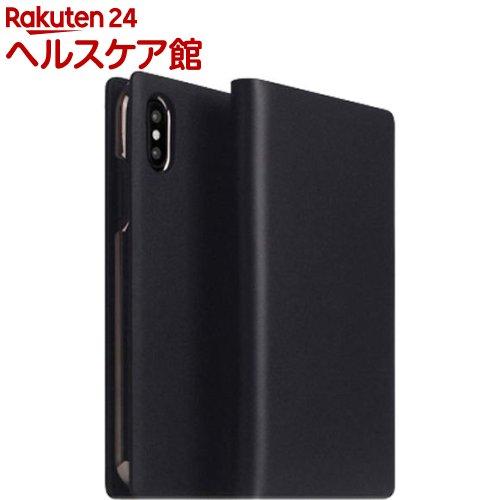 SLG iPhone XS MAX カーフスキンレザーダイアリー ブラック SD13743i65(1個)【SLG Design(エスエルジーデザイン)】