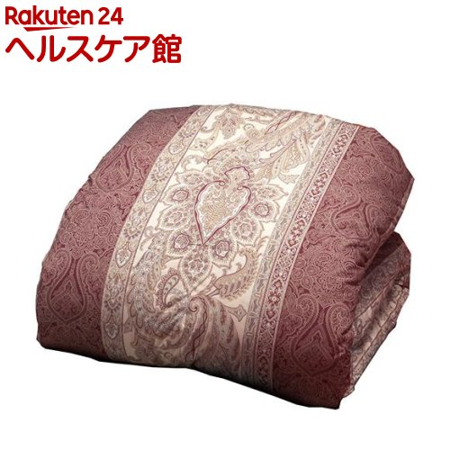 英国産ダウン&フェザー掛布団 ペイズリー ピンク シングル(1枚入)