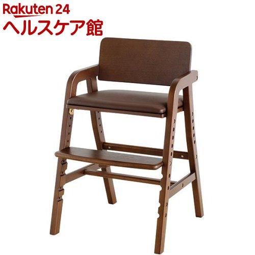 キトコ キッズダイニングチェア ダークブラウン+ブラウン(1台)【送料無料】