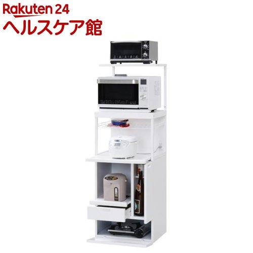キャビー 組立式レンジ台 ホットプレート収納タイプ ホワイト CHU-307W(1台)【送料無料】