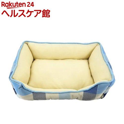 ペットプロ クラシカルチェックスクエアベッド M ブルー(1個)【ペットプロ(PetPro)】