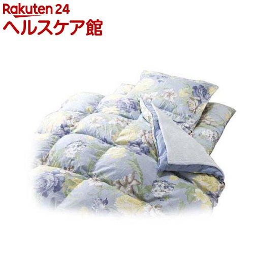 毛布&敷パッド付やわらかフェザー掛布団寝具 シングル9点セット ブルー(1セット)【送料無料】