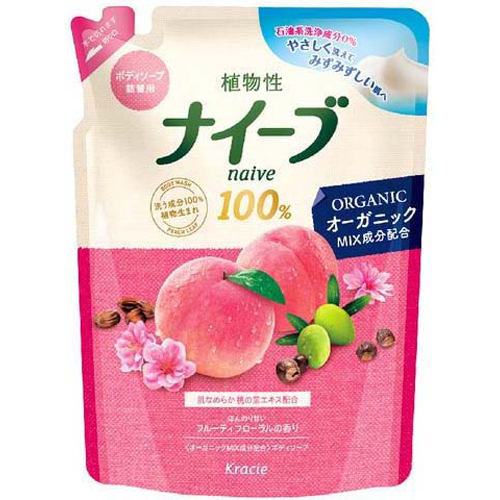 Naive body SOAP peach leaf extract contains fruity floral scent refill 400 ml