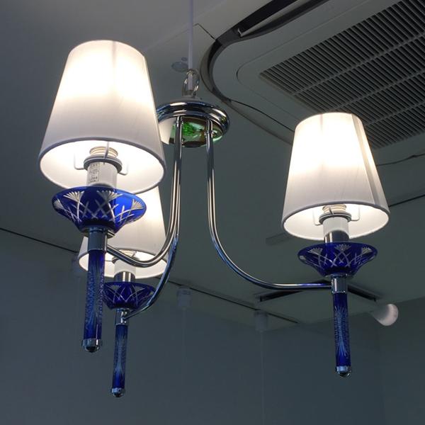 (クーポンつき)【切子3灯ペンダントKRI003B】【色は濃紺(青)とエンジ(赤)の2種類】オリンピア照明LED照明
