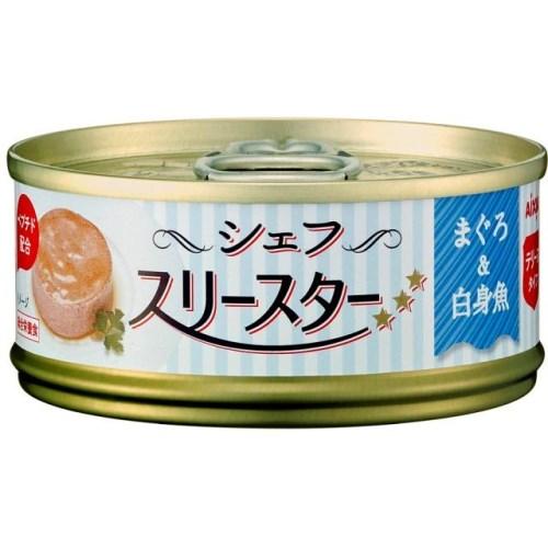◇アイシア シェフ スリースター テリーヌタイプ まぐろ&白身魚 60g缶