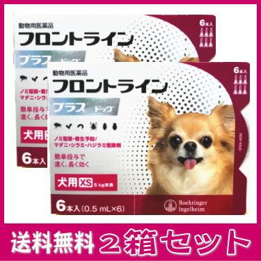 【使用期限21年9月】[動物用医薬品 犬用] フロントラインプラス ドッグ XS [5kg未満] 6本入 (0.5mL×6) 2箱セット★
