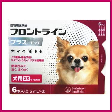 税込5 500円以上で送料無料 動物用医薬品 激安通販ショッピング 犬用 フロントラインプラス XS 6本入 在庫限り ドッグ 0.5mL×6 5kg未満