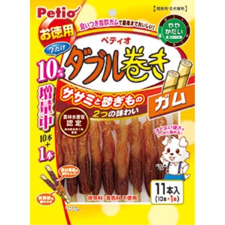 ◇ペティオ ササミ+MOGU(モグ) ハードダブル巻きガム 10本入