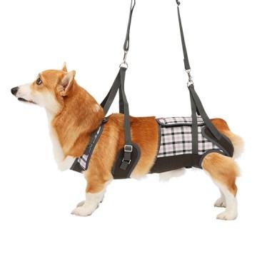 ◇トンボ 歩行補助ハーネスLaLaWalk(ララウォーク) 中型犬・コーギー用 パープルチェック CL