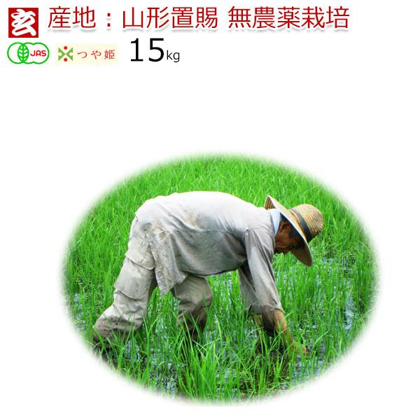 JAS有機認証 無農薬 玄米 15kg 送料無料 つや姫 無農薬 30年産 山形県産 置賜地区限定 生産者:小林 亮