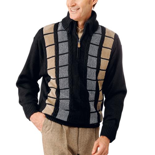 送料無料「秋冬 マフラー要らずの暖かセーター(同サイズ2色組) メンズ トップス 紳士 シニア ニット ブラック ワインレッド デザインセーター」 fri p16538
