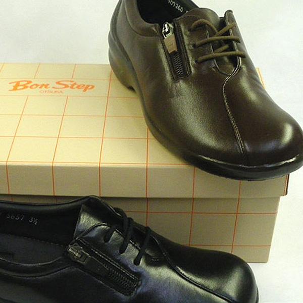 送料無料 外反母趾対応 ボンステップ レディース レースアップ ウォーキングシューズ ランニングシューズ Bon Step BS5657 22.0cm-25.0cm 4E ファスナー 女性用 紐 靴 ヒール p10s