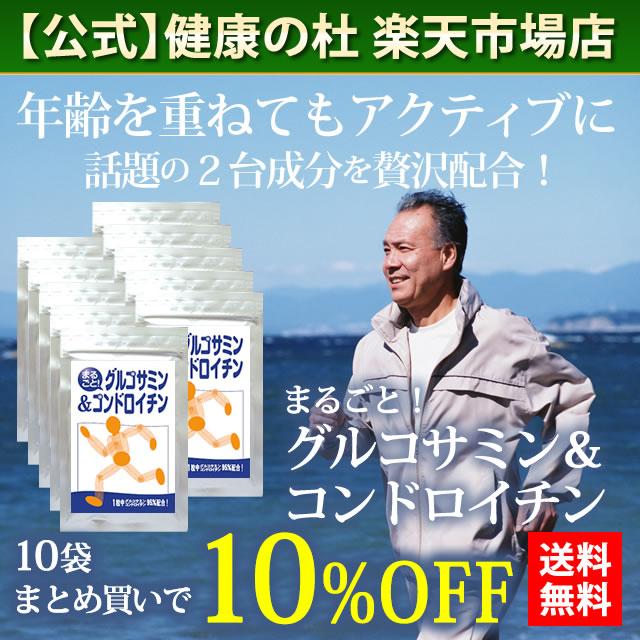 まるごと!グルコサミン&コンドロイチン【送料無料!】お得な10%OFFの10袋セット!!グルコサミン コンドロイチン