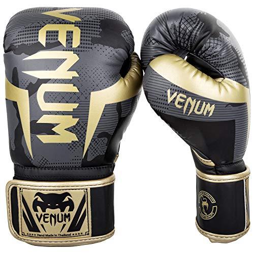 正規激安 Venum 定番から日本未入荷 Elite ボクシンググローブ ダーク迷彩 ゴールド 8オンス
