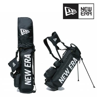 New Era ニューエラGolf キャディーバッグ スタンド式 ブラック ホワイトプリントロゴバッグバック