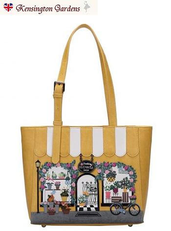 ザ・フラワーショップベンデューラ ロンドン 2wayトートバッグ a4 横型 レディース ファスナー付き かわいい ブランド 英国スタイル 女性用デザイナーズバッグ イギリス Vendula London Flower Shop Tote Bag【送料無料】