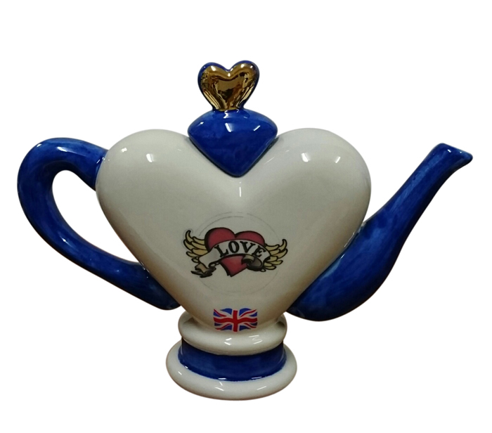 ハート ブルー ティーポット 大 インテリア イギリス製 英国 置物 ギフト コレクション
