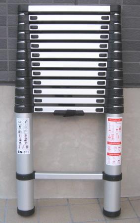 伸縮はしご アルミ伸縮はしご 無印一流品【新型改良品】 3.8mまで伸びます