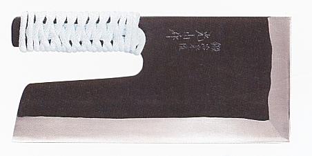 【蕎麦打ち道具】安来鋼青紙黒打麺切包丁(布ケース付)300mm A-1165