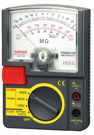 三和電気計器 3レンジ式絶縁抵抗計 PDM5219S【500V/250V/125V】