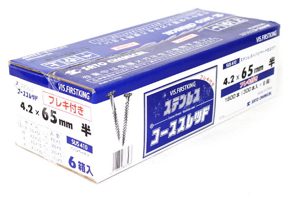 全品送料無料 ステンレス コーススレッド 直営ストア SC ステンレスコーススレッド SUS410 パシペート仕上げ 250本入×6箱 半ネジタイプ フレキ付 4.2×75mm 大箱