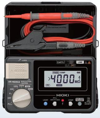 【特価品】日置電機 太陽光発電システム用5レンジ デジタル絶縁抵抗計 IR4053-11【スイッチ付テストリードL9788-11付属】