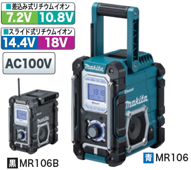 Makita rechargeable portable radio MR106 (blue) /MR106B (black) (MR103 replacement)
