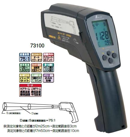 シンワ測定 放射温度計 H 高温測定用デュアルレーザー ポイント機能付 放射率可変タイプ 73100