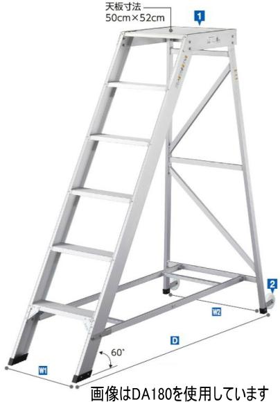 ハセガワ 組立式作業台 ライトステップ DA-210(1100フルセット手摺付)【天板高さ2.10m】【メーカー直送品/代引不可】【※個人宅お届けは運賃別途見積の場合がございます】