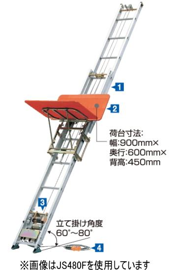 ハセガワ 荷揚機 マイティスライダー JS-870F(8.7~5.5m)【メーカー直送品のため代金引換便はご利用になれません。】【※個人宅お届けは運賃別途見積の場合がございます】