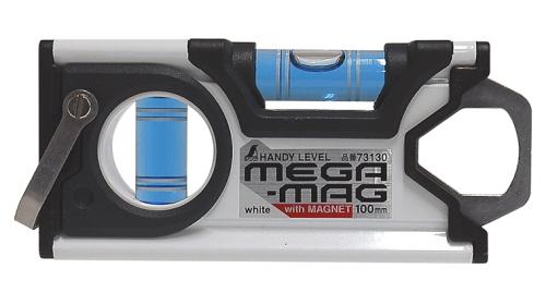 シンワ測定 激安格安割引情報満載 爆買い新作 水平器 ハンディレベルMEGA-MAG 73130 100mm白 MG付