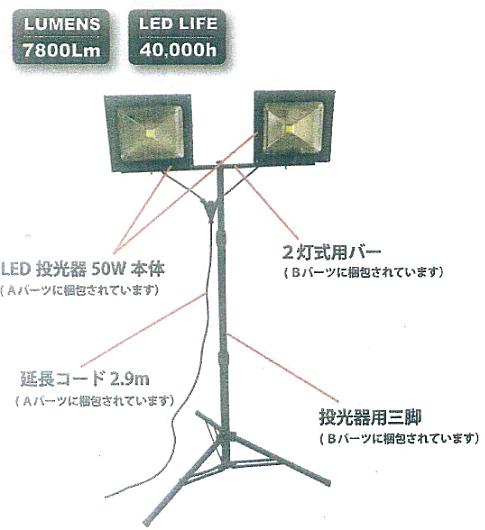 Knight Savior 2灯式LED投光器(スタンド付)【約7800ルーメン】 ZY-WL7002