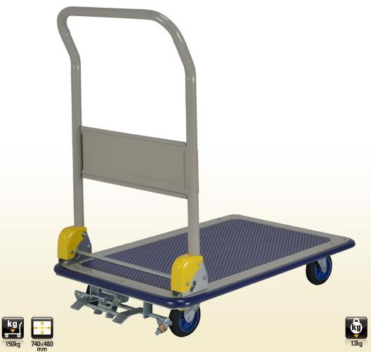 上杉輸送 スチール製台車(折りたたみハンドル/※フットブレーキ付) 【耐荷重150kg】 NB-S101