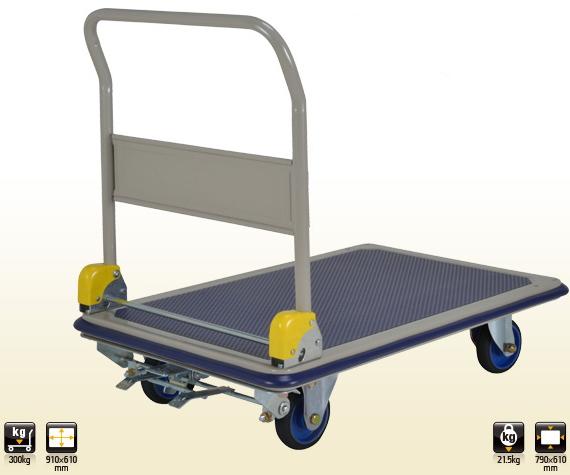 上杉輸送 ニューフレッシュカー スチール製台車(折りたたみハンドル/※フットブレーキ付) 【耐荷重300kg】 NF-S301