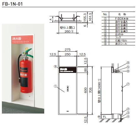 杉田エース 消火器ボックス(全埋込型) ※消火器は別売 F-BOX FB-1N-01 812-751