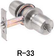 トステム アルミサッシ取替錠 勝手口(キー3本付) R-33 バックセット90mm
