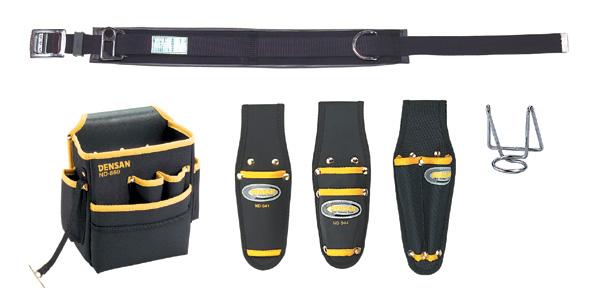 DENSAN(デンサン/ジェフコム) 柱上安全帯用ベルト+腰回り5品セット(キャンバス) NDS-55BK-SET