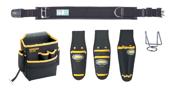 DENSAN(デンサン/ジェフコム) 柱上安全帯用ベルト+腰回り5品セット(キャンバス) NDS-97BK-SET