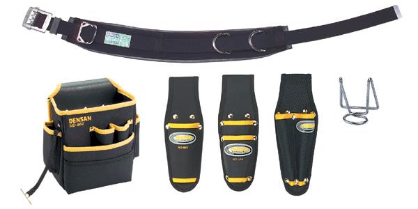 DENSAN(デンサン/ジェフコム) 柱上安全帯用ベルト+腰回り5品セット(キャンバス) NDS-R96BK-SET