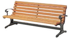 ミヅシマ工業 240-0200 ベンチ W1 (背・肘付)(木製) ●座板:木(防腐剤処理)【納期目安4~5日/※代金引換便はご利用になれません】