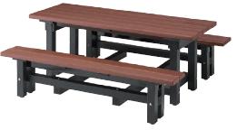 テーブルとベンチ一体型 ミヅシマ工業 249-0500 リサイクルディオ #67 ●ブラウン【※受注生産/代金引換便はご利用になれません/別途運賃見積もり】