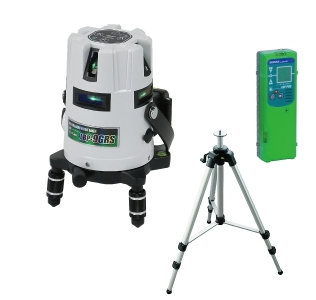 お手頃価格 (受光器・三脚セット) LBP-9GRS-SET:ケンチクボーイ DENSAN(デンサン/ジェフコム) 墨出し器 グリーンレーザーポイントライナー-DIY・工具