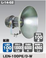 日動工業 LEDメガライト100W(投光器式) LEN-100PE/D-W