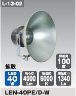 【国内発送】 日動工業 LEDメガライト40W(投光器式) LEN-40PE/D-W:ケンチクボーイ-DIY・工具