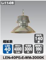 日動工業 LEDメガライト40W(吊り下げ式) LEN-40PE-E-WM-3000K